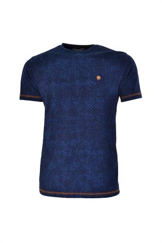 CAMISETA MC BLUES SUPER SLIM ALGODAO GOLA C PETIT-POIS AZUL MARINHO
