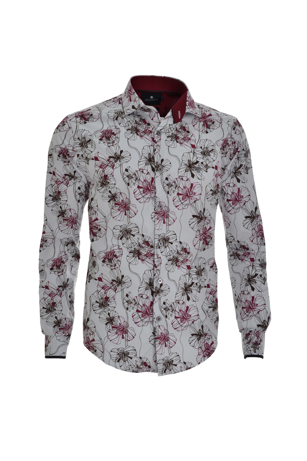 CAMISA ML FASHION SUPER SLIM ALGODAO FIO TINTO FLORAL GELO