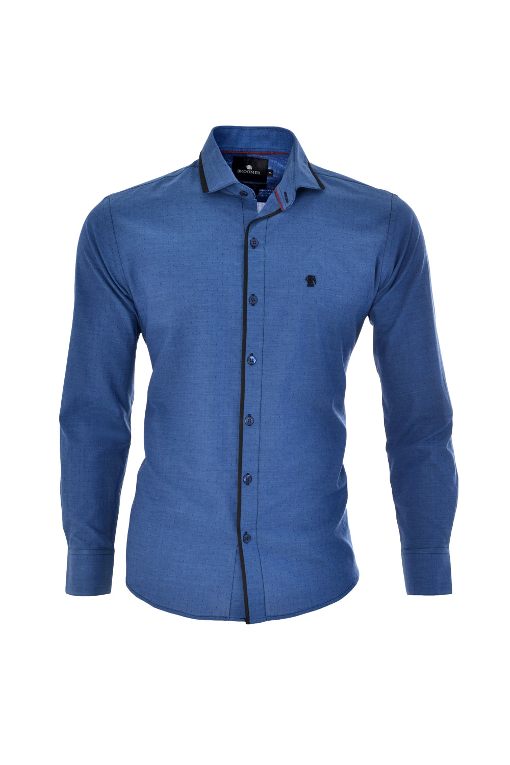 CAMISA ML FASHION SUPER SLIM ALGODAO FIO TINTO PETIT-POIS AZUL MEDIO