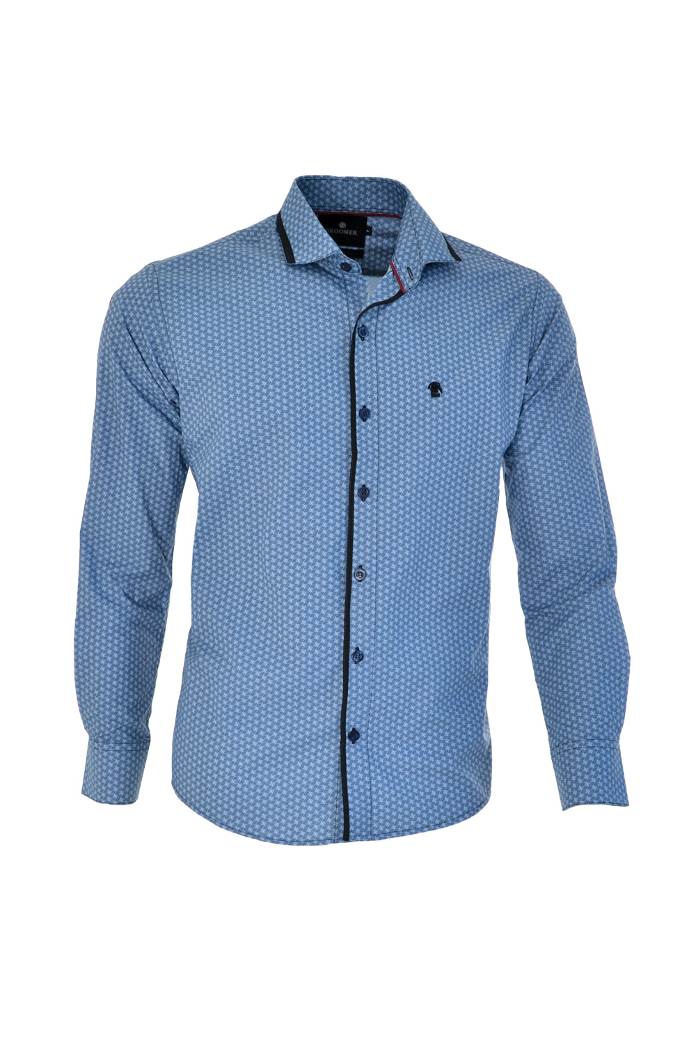 CAMISA ML FASHION SUPER SLIM ALGODAO COMPOSE ESTAMPA AZUL MEDIO