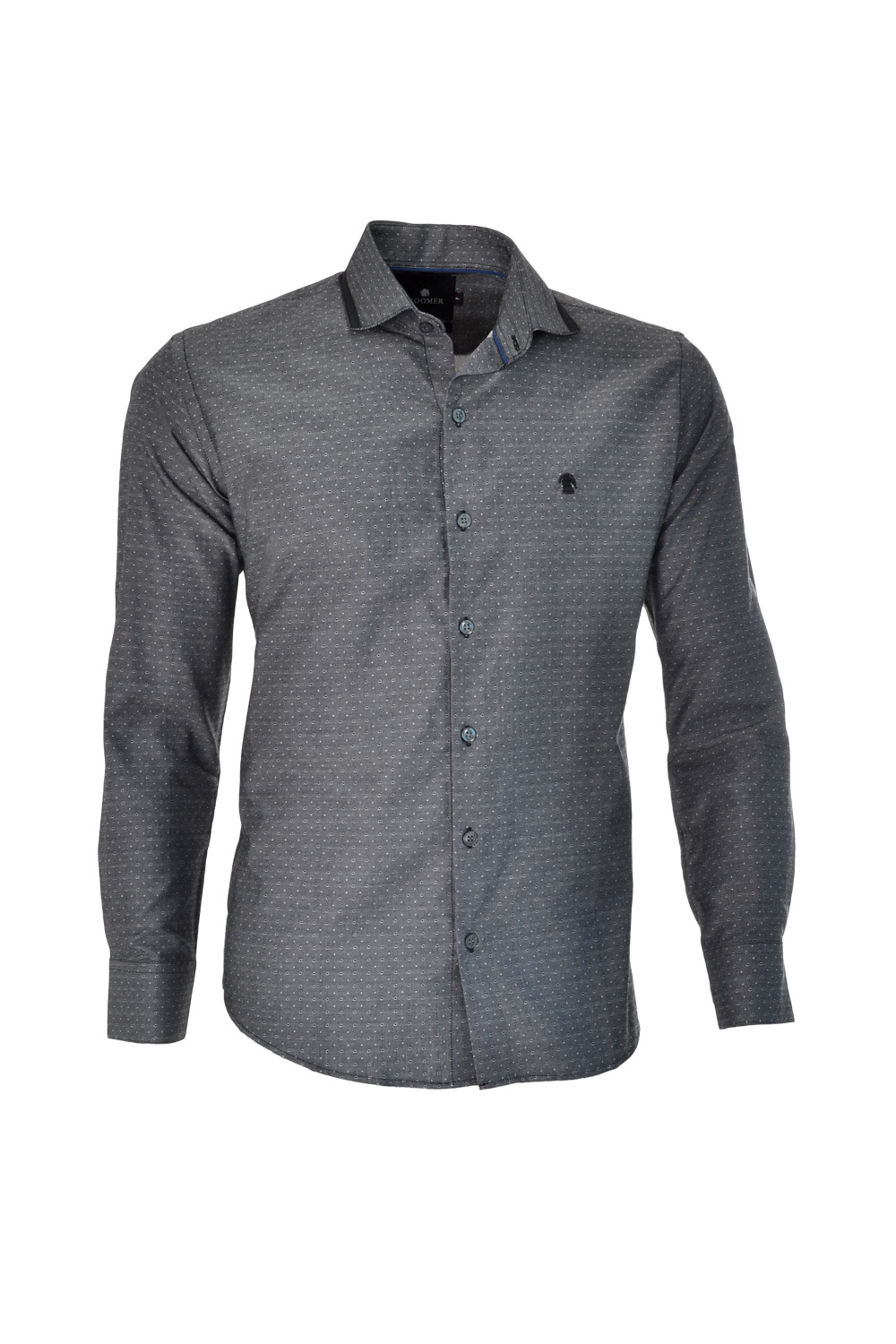 CAMISA ML FASHION SUPER SLIM ALGODAO FIO TINTO MAQUINETADA PRETO