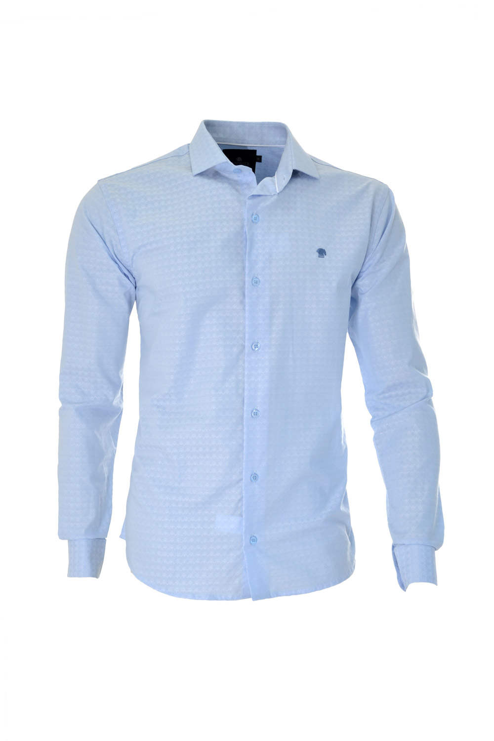 CAMISA ML FASHION SUPER SLIM ALGODAO FIO TINTO MAQUINETADA GELO