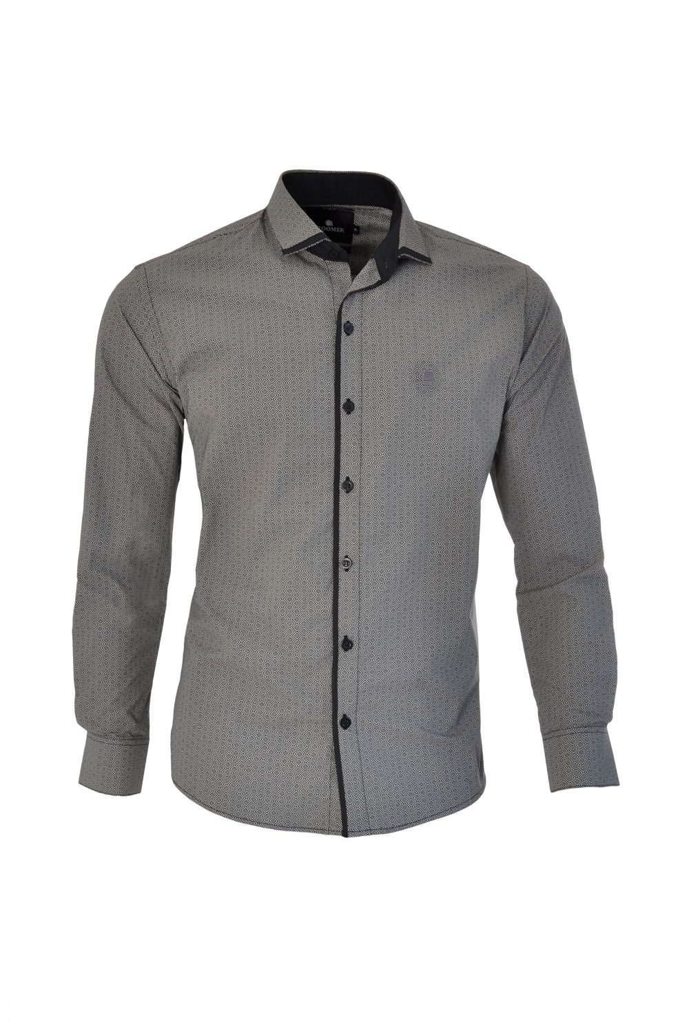 CAMISA ML FASHION SUPER SLIM ALGODAO COMPOSE ESTAMPA PRETO